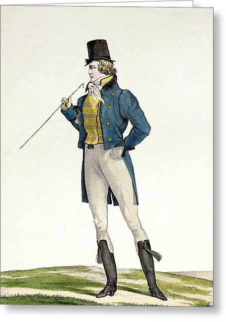 A Dandy In A Robinson Hat Greeting Card by Antoine Charles Horace Vernet