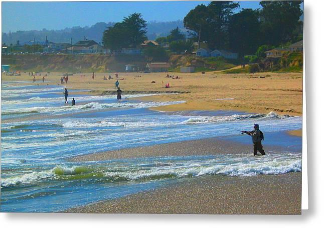 A Day At The Beach #1 Greeting Card by Derek Dean