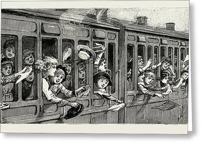 A Day In The Country, A Childrens School Treat In The Train Greeting Card