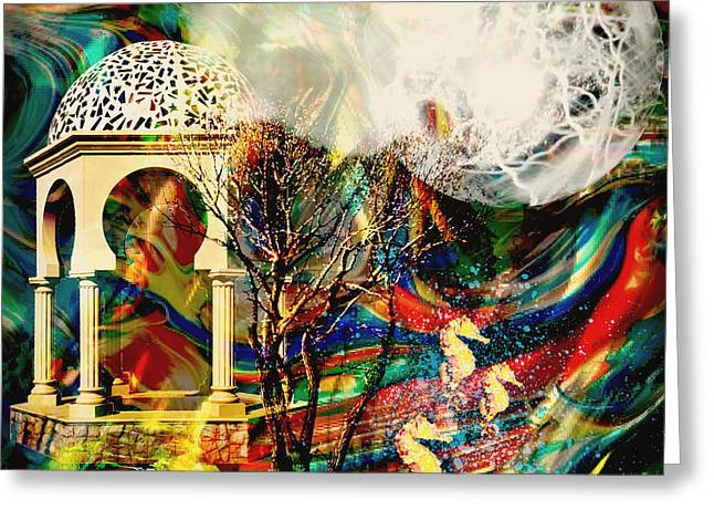 Greeting Card featuring the mixed media A Day In The Park by Ally  White
