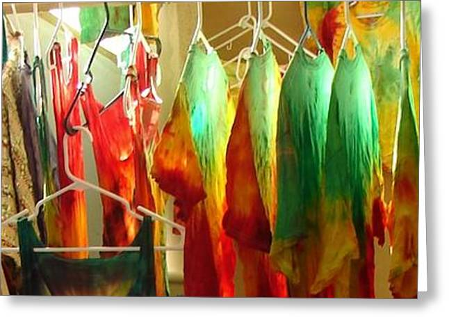 A Day In The Tie Dye Room Greeting Card by Windy Mountain