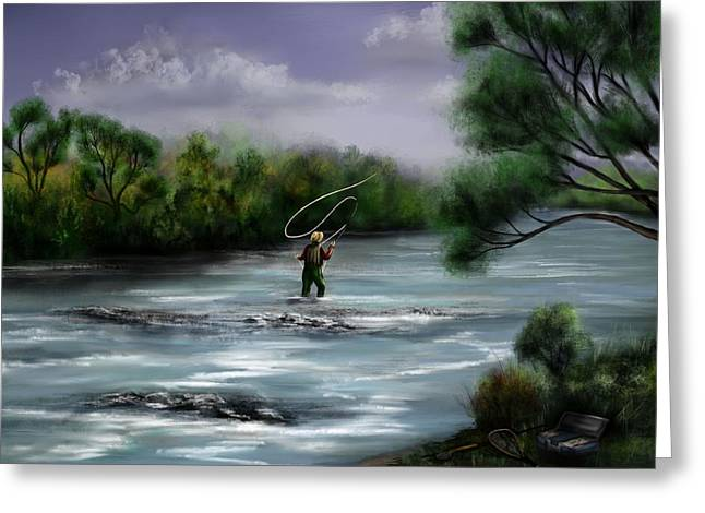 A Day On The Stream - Flyfishing Greeting Card