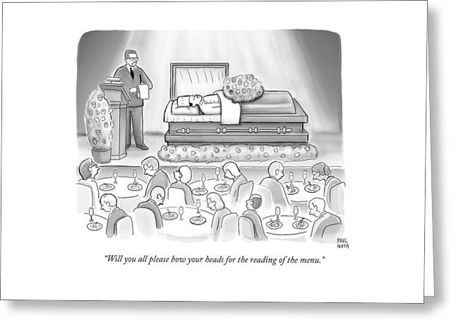 A Dead Chef Is In A Casket And A Bunch Of People Greeting Card