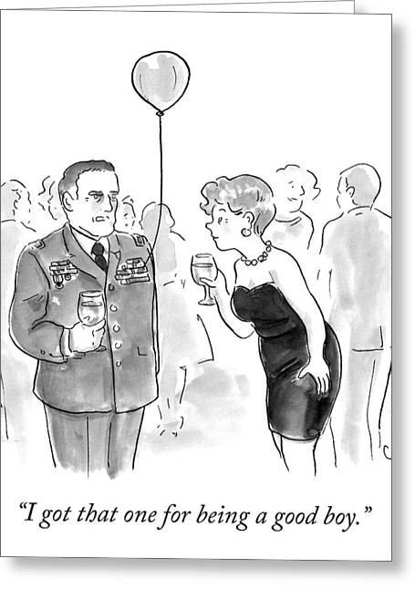 A Decorated Military Officer At A Cocktail Party Greeting Card by Carolita Johnson