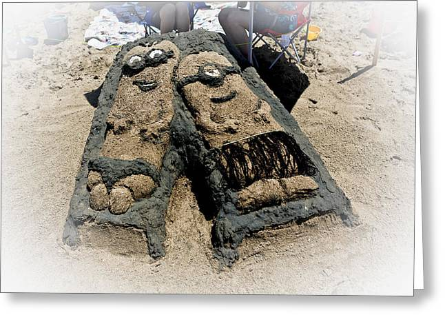 A Despicably Relaxing Day At The Beach - Sand Sculpture Greeting Card by Patricia Sanders