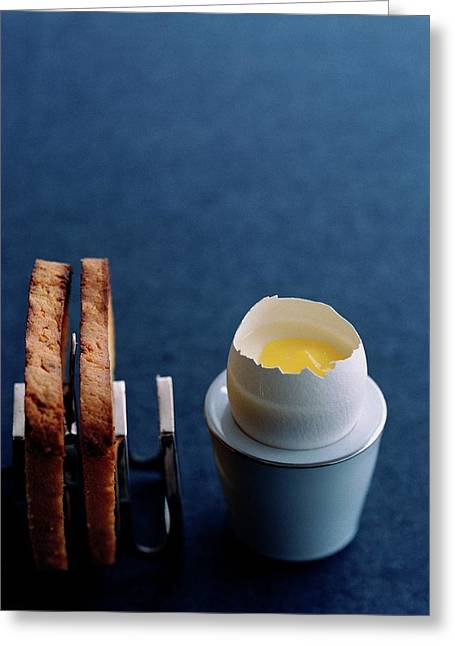 A Dessert Made To Look Like An Egg And Toast Greeting Card