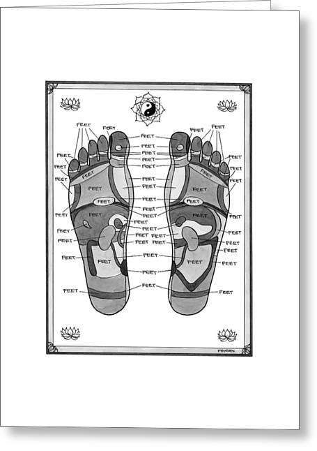 A Diagram Of Parts Of The Foot Greeting Card by Pat Byrnes