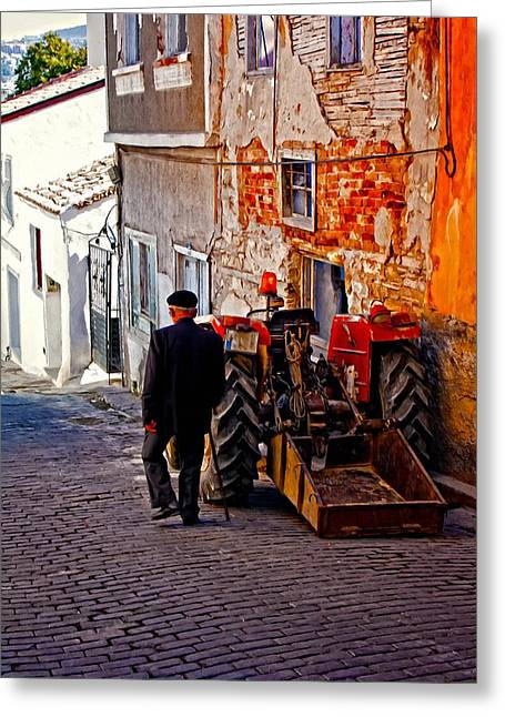 A Digitally Constructed Painting Of An Elderly Man Walking Past A Tractor In A Turkish Village Greeting Card