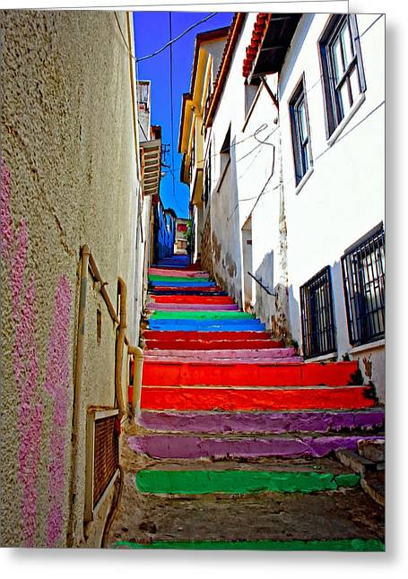 A Digitally Constructed Painting Of Multi Colored Steps In A Turkish Village Greeting Card