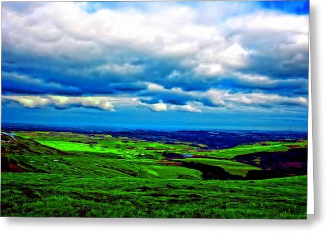 A Digitally Constructed Painting Of The Yorkshire Moors Greeting Card