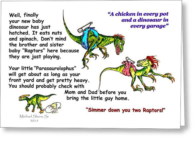 A Dinosaur Gift For You Card Greeting Card by Michael Shone SR