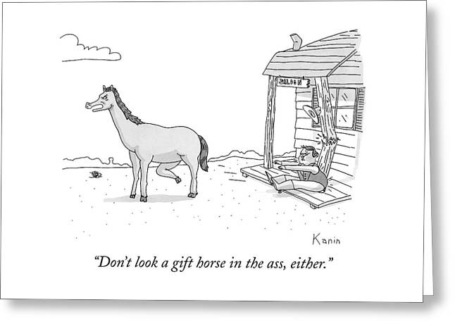 A Disgruntled Horse Has His Rear End Facing Greeting Card
