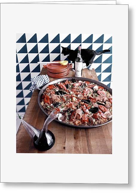 A Dish Of Paella Greeting Card by Richard Rutledge