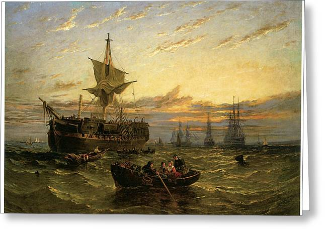 A Dismantled East Indiaman In The Thames Estuary Greeting Card by William Adolphus Knell