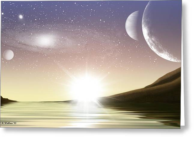 A Distant World Sunset Greeting Card