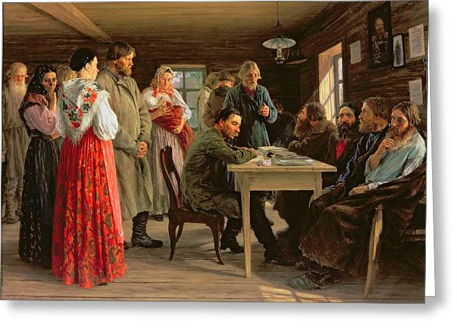 A District Court, 1888 Oil On Canvas Greeting Card by Mikhail Ivanovich Zoshchenko