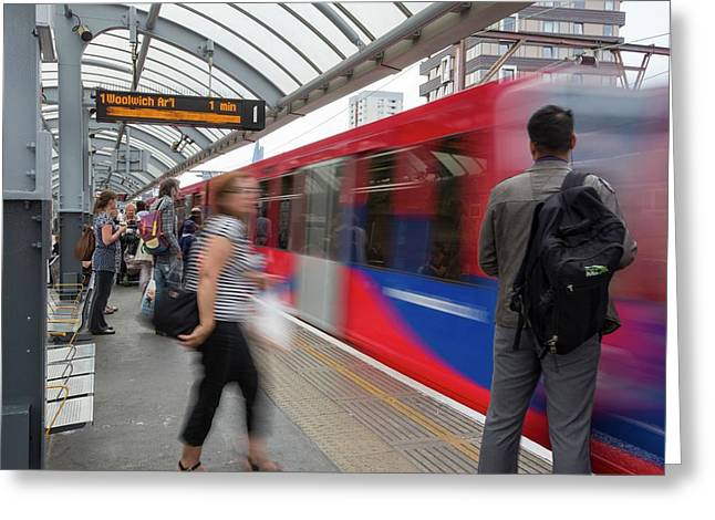 A Docklands Light Railway Train Greeting Card by Ashley Cooper