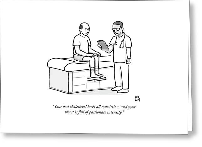 A Doctor Addresses A Patient In The Examination Greeting Card by Paul Noth