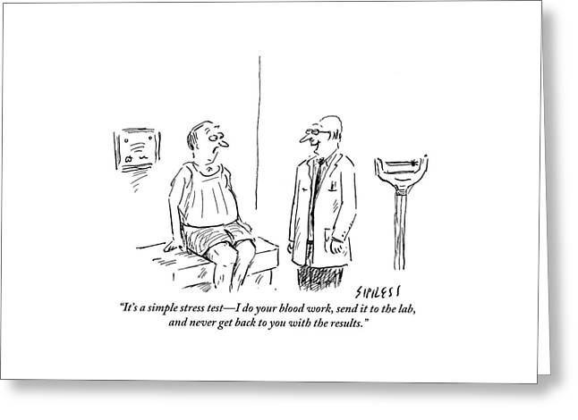 A Doctor Checks In With His Balding Patient Greeting Card by David Sipress