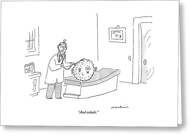 A Doctor Conducts A Check Up On His Blowfish Greeting Card