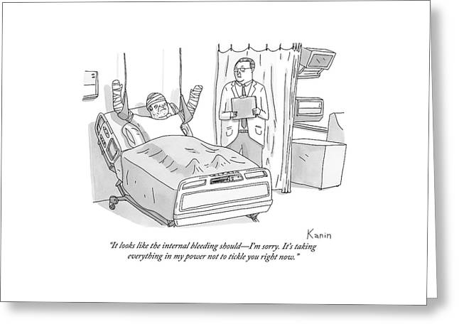 A Doctor In A Hospital Addresses His Patient Greeting Card by Zachary Kanin