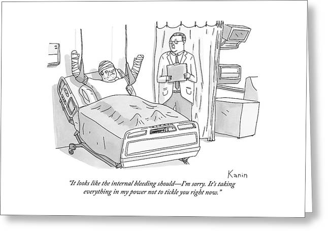 A Doctor In A Hospital Addresses His Patient Greeting Card