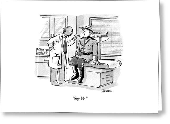 A Doctor Inspects A Royal Canadian Mounted Greeting Card
