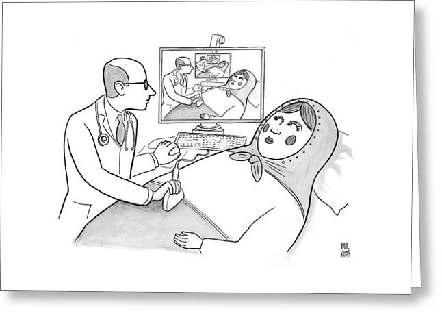 A Doctor Is Seen Giving An Sonogram To A Russian Greeting Card