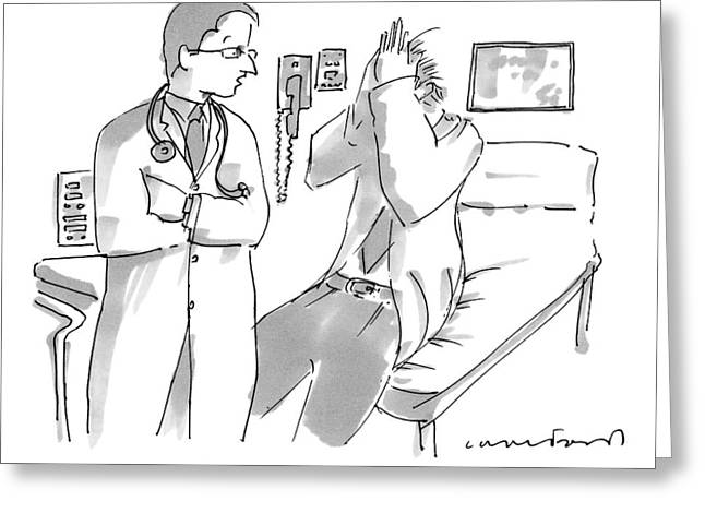 A Doctor Is Talking To A Patient Seated Greeting Card