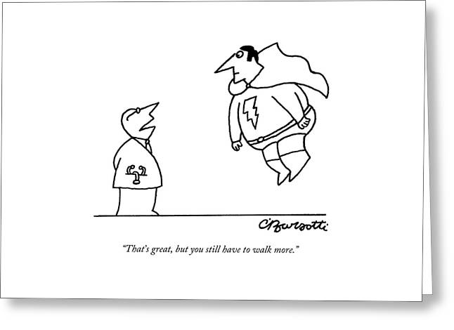 A Doctor Speaks To A Superhero With A Lightning Greeting Card by Charles Barsotti