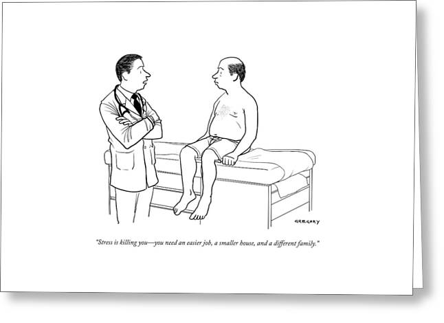 A Doctor Talks To A Male Patient Greeting Card by Alex Gregory