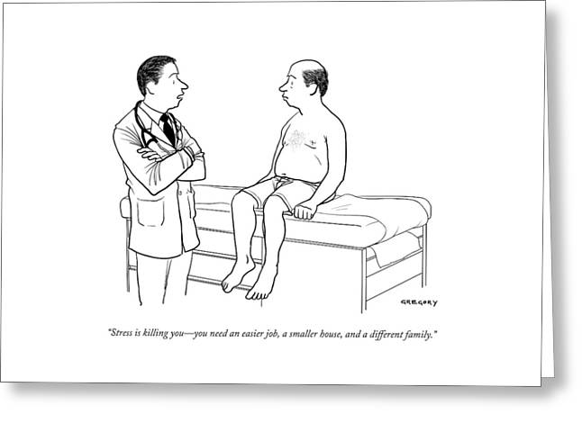 A Doctor Talks To A Male Patient Greeting Card