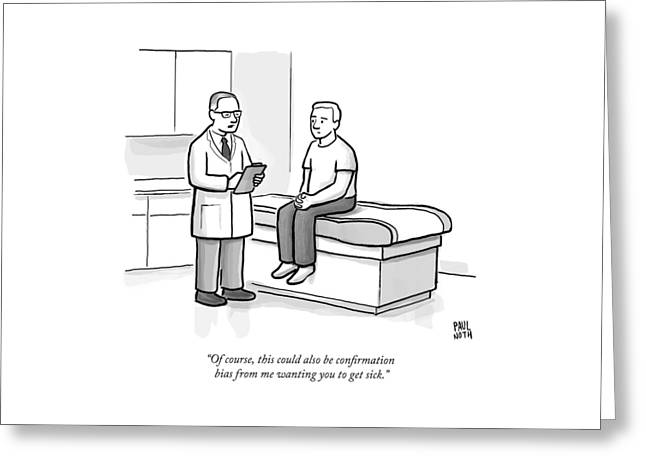 A Doctor Talks To His Patient Greeting Card