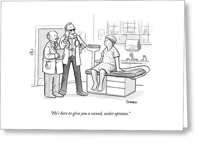 A Doctor Tells A Patient About A Hip-looking Greeting Card