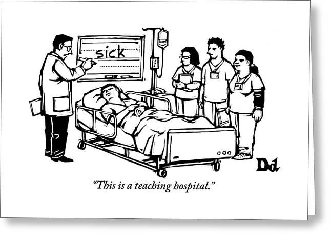 A Doctor Writes The Word Sick On A Blackboard Greeting Card