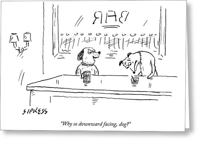 A Dog Addresses Another Dog In A Bar Greeting Card