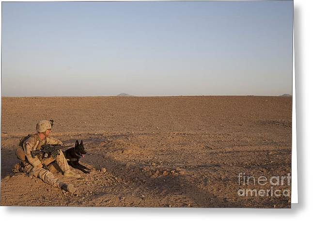 A Dog Handler With The U.s. Marine Greeting Card