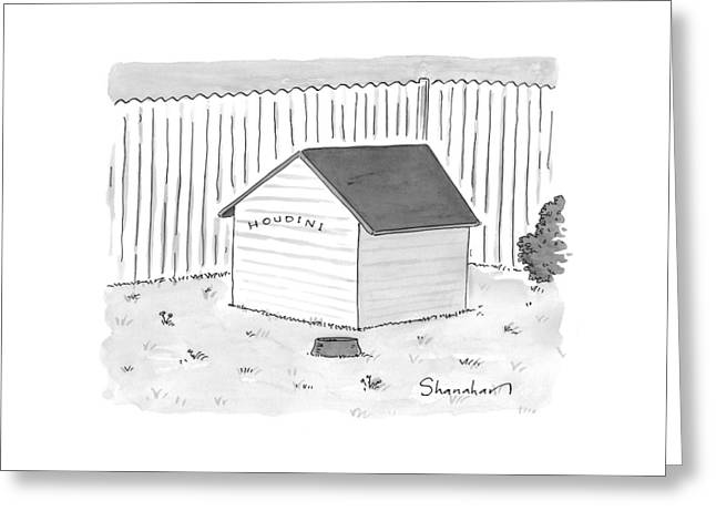 A Dog House With No Doors Is Seen With The Sign Greeting Card