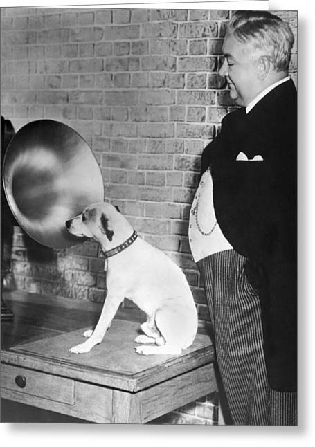 A Dog Listens To Gramaphone Greeting Card