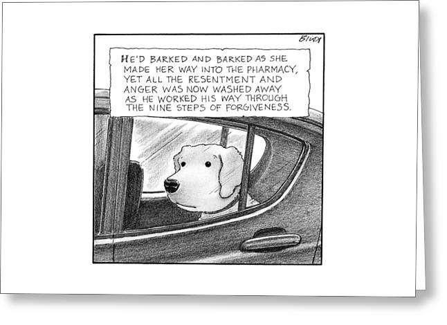 A Dog Looks Out Of A Car Window.  Title: He'd Greeting Card