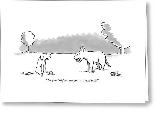 A Dog Sits With A Ball At His Feet. Another Dog Greeting Card