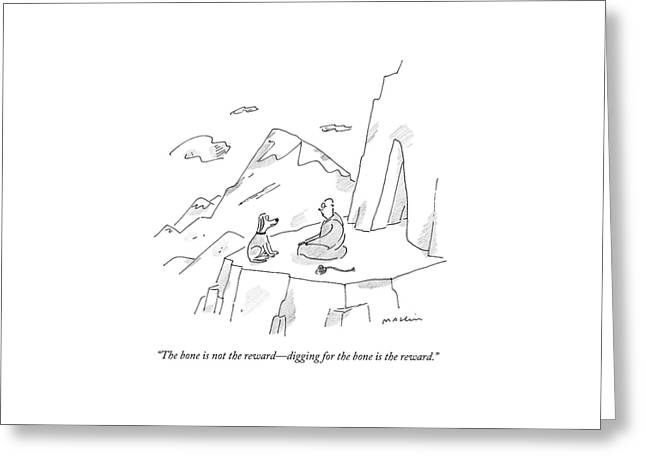 A Dog Speaks To A Guru On Top Of A Mountain Greeting Card by Michael Maslin