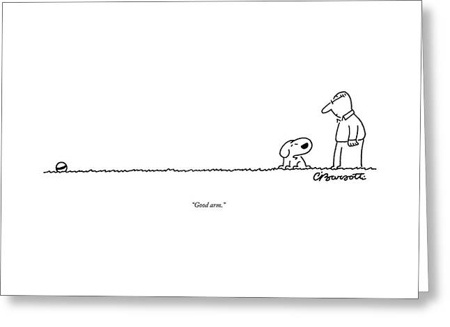 A Dog Speaks To A Man Greeting Card