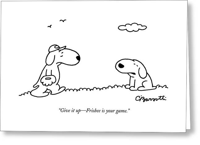 A Dog Talks To Another Dog Wearing Baseball Gear Greeting Card