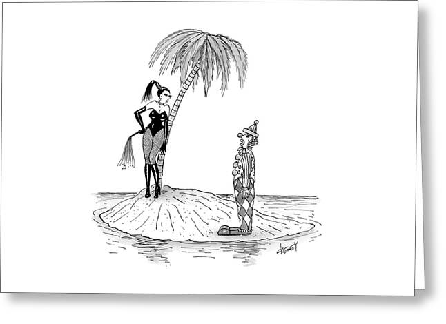 A Dominatrix Speaks To A Clown On A Small Desert Greeting Card