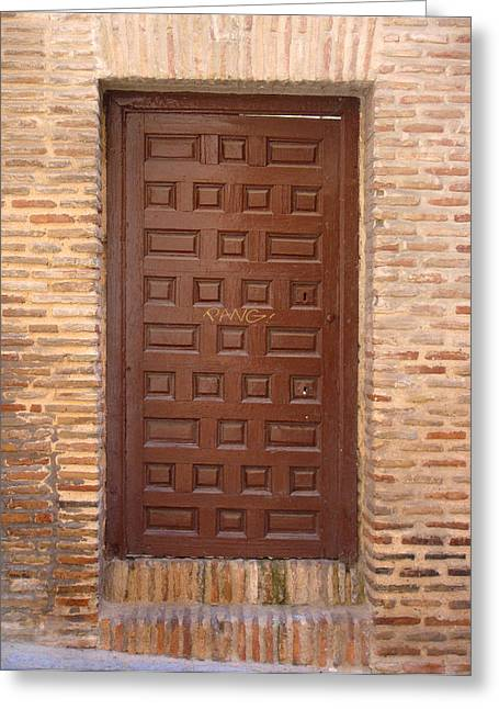 A Door In Toledo Greeting Card by Roberto Alamino
