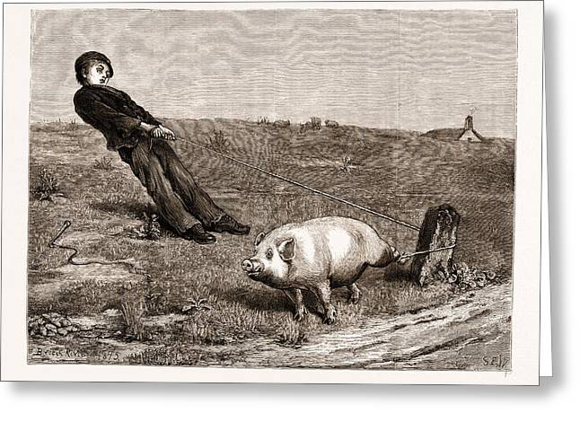 A Double Entendre, From The Painting By Briton Riviere Greeting Card