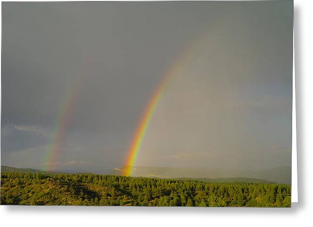 A Double Rainbow Near Durango Greeting Card by Jeff Swan