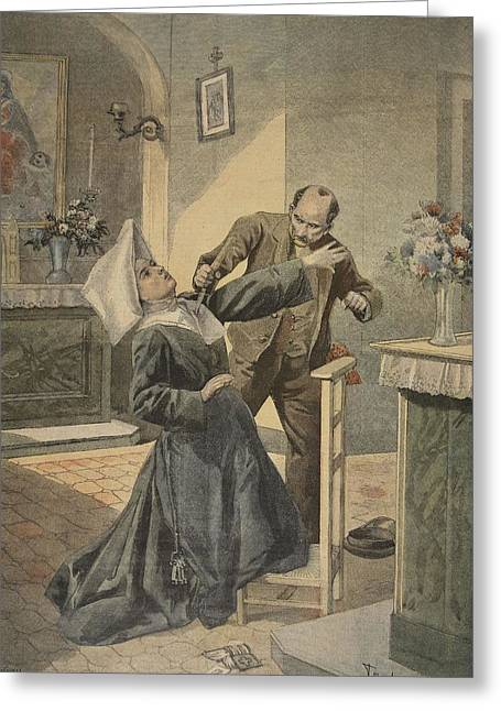 A Drama In An Asylum Assassination Greeting Card by French School