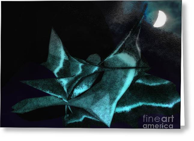 A Dream - Flying To The Moon Greeting Card by Gerlinde Keating - Galleria GK Keating Associates Inc